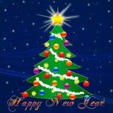 Weihnachtsbaum für das neue Jahr Fallender Schnee glückwunsch Lizenzfreies Stockbild