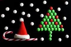 Weihnachtsbaum-Formsüßigkeitshintergrund Stockfoto