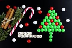 Weihnachtsbaum-Formsüßigkeitshintergrund Lizenzfreies Stockfoto