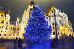 Weihnachtsbaum in Front Off Parliament Building stockfoto