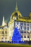 Weihnachtsbaum in Front Off Parliament Building stockfotos