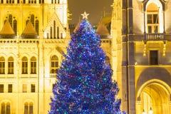 Weihnachtsbaum in Front Off Parliament Building, bei Kossuth Squa lizenzfreie stockfotografie