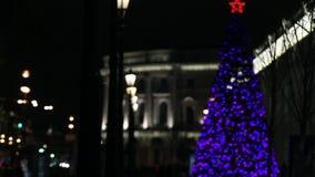 Weihnachtsbaum funkelt in der Nachtstadt stock footage