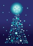 Weihnachtsbaum gebildet von den Sternen stock abbildung