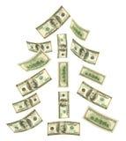 Weihnachtsbaum gebildet von fallendem Geld Lizenzfreie Stockbilder
