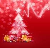 Weihnachtsbaum gemacht von den Scheinen und von den Lichtern Stockfoto