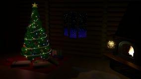 Weihnachtsbaum, Geschenkboxen und Kamin stock abbildung