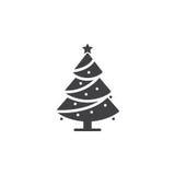 Weihnachtsbaum-Ikonenvektor, verzierter Nadelbaum füllte flaches Zeichen, Stockbilder