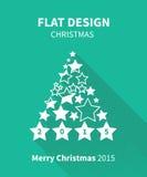 Weihnachtsbaum im flachen Design mit langem Schatten Stockfoto