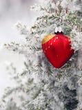 Weihnachtsbaum im Frostherzen Stockbilder