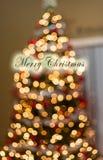 Weihnachtsbaum im Hintergrund mit aus Fokus-Lichtern heraus Lizenzfreie Stockfotos