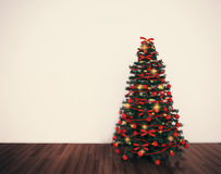 Weihnachtsbaum im leeren Wohnzimmer vektor abbildung