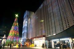 Weihnachtsbaum im Weihnachten und in der neues Jahr-Feier Lizenzfreies Stockfoto