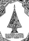 Weihnachtsbaum im Zen-Gekritzelartschwarzen auf Weiß Lizenzfreie Stockfotografie