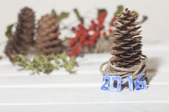 Weihnachtsbaum-Kiefernkegel Stockbild