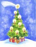 Weihnachtsbaum, Komet und Geschenk Stockfotografie