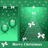 Weihnachtsbaum, -kugeln und -bögen Stockfotografie