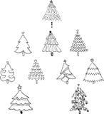 10 Weihnachtsbaum-Linie Kunst Zeichnung Lizenzfreie Stockbilder