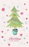 Weihnachtsbaum-Marktbeschriftung Stockbild
