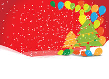 Weihnachtsbaum mit Ballonen Stockfotos