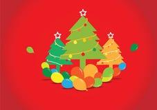 Weihnachtsbaum mit Ballonen auf rotem Hintergrund Stockfotografie