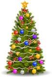 Weihnachtsbaum mit bunten Verzierungen Stockbild