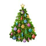 Weihnachtsbaum mit bunten Verzierungen, Vektorillustration Lizenzfreies Stockfoto