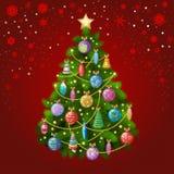 Weihnachtsbaum mit bunten Verzierungen, Vektorillustration Stockfoto