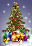 Weihnachtsbaum mit Dekorationen Stockbilder