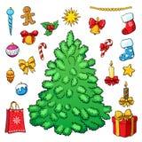 Weihnachtsbaum mit Dekorationen Karikatur polar mit Herzen Stockfoto