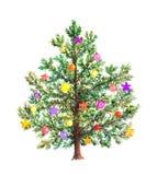 Weihnachtsbaum mit dekorativem Flitter watercolor Stock Abbildung