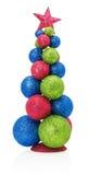 Weihnachtsbaum mit den Bällen lokalisiert auf dem weißen Hintergrund Stockfoto
