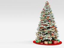 Weihnachtsbaum mit den bunten Verzierungen, lokalisiert Stockbild