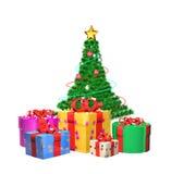 Weihnachtsbaum mit den Geschenken bedeckt durch den Schnee, lokalisiert auf Weiß Stockfotografie