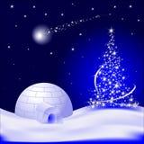 Weihnachtsbaum mit fallendem Stern und Iglu Stockfotografie