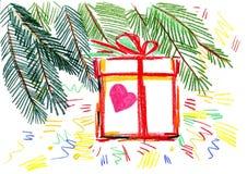 Weihnachtsbaum mit Geschenk lizenzfreies stockbild