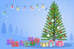Weihnachtsbaum mit Geschenkbox auf blauem Winterhintergrund vektor abbildung