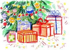 Weihnachtsbaum mit Geschenken lizenzfreie stockfotos