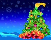 Weihnachtsbaum mit Geschenken Stockfotografie