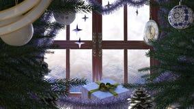 Weihnachtsbaum mit Geschenken, Fenster und Uhr Lizenzfreies Stockbild