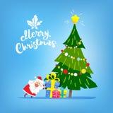Weihnachtsbaum mit Geschenken und Santa Claus Text der frohen Weihnachten vektor abbildung