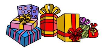 Weihnachtsbaum mit Geschenken und Verzierungen Stockbild