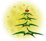 Weihnachtsbaum mit goldenen Bällen und Kegelhintergrund mit Schneeflocken Abbildung des Vektor EPS10 Lizenzfreie Stockfotos