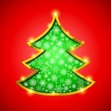 Weihnachtsbaum mit goldener Grenze, Schneeflocken und Stockfotos