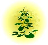 Weihnachtsbaum mit Goldkugeln auf Hintergrund mit Schneeflocken Abbildung des Vektor EPS10 Lizenzfreie Stockfotos