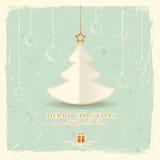 Weihnachtsbaum mit hängenden Verzierungen stock abbildung