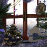 Weihnachtsbaum mit Kiefernkegel, -fenster und -uhr Stockfotografie