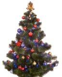 Weihnachtsbaum mit Leuchte und Kugel. Stockbild