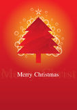 Weihnachtsbaum mit rotem Hintergrund Lizenzfreies Stockfoto