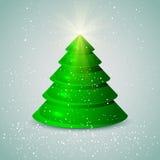 Weihnachtsbaum mit Schnee Stockbild